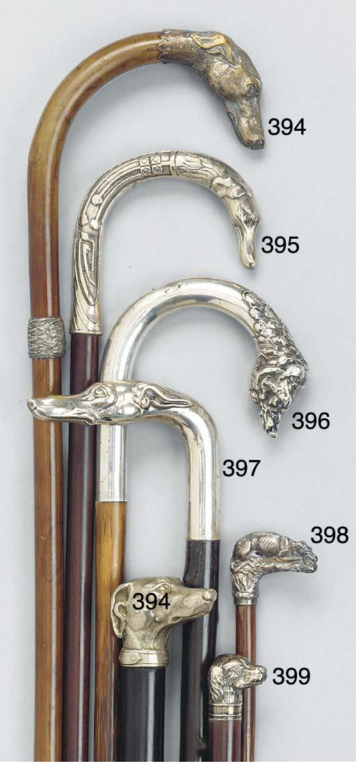 A silver mounted bamboo walkin