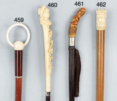 An ivory mounted malacca walki