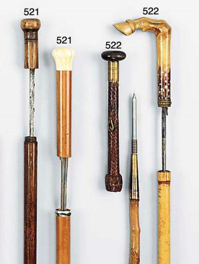 An amber mounted bamboo sword