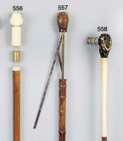 A turned ivory mounted malacca