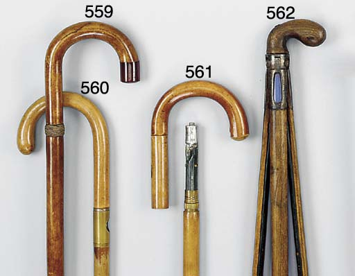 A wood 'gadget' walking stick
