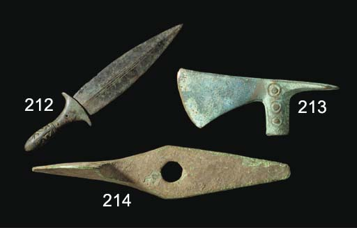 A LARGE NORTH-WEST PERSIAN RITUAL BRONZE PICKAXE