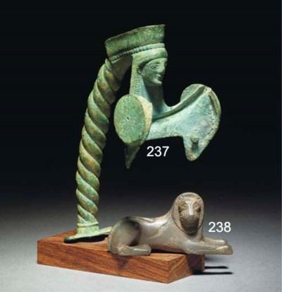 A GREEK BRONZE BEAKED OINOCHOE