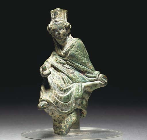 A ROMAN HOLLOW BRONZE FIGURE OF TYCHE OF ANTIOCH