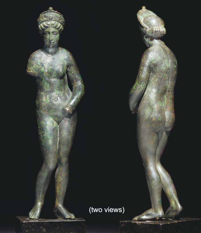 A ROMAN BRONZE STATUETTE OF VE