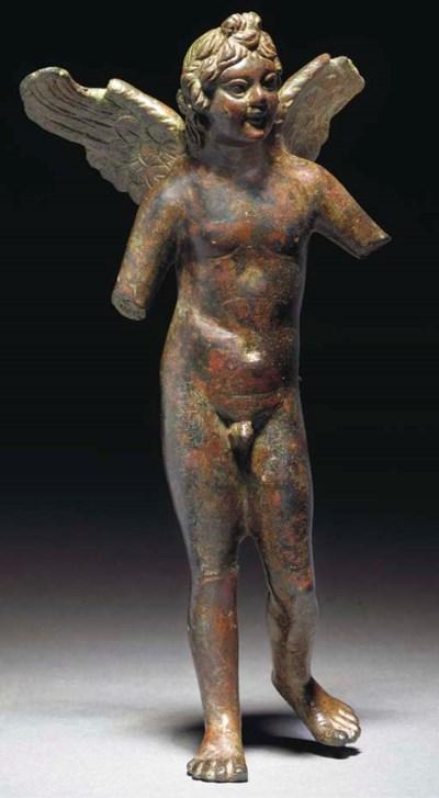 A GRAECO-EGYPTIAN BRONZE FIGUR