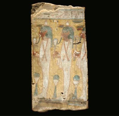 AN EGYPTIAN POLYCHROME WOOD IN