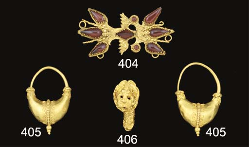 A PAIR OF GREEK GOLD CRESCENTIC EARRINGS