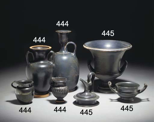 A GROUP OF ATTIC AND SOUTH ITALIAN BLACK GLAZED POTTERY VESSELS
