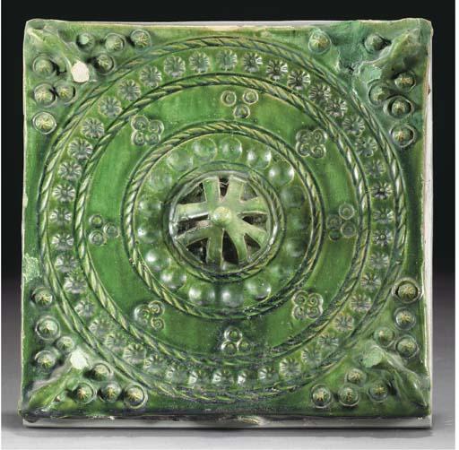 Three green glazed pottery til