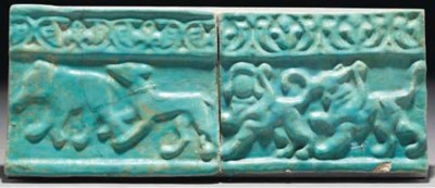 Two Kashan moulded turquoise g