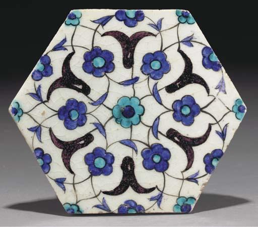 A Damascus pottery hexagonal t