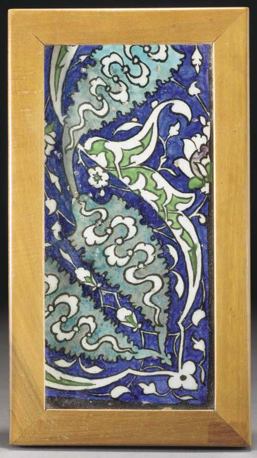 A Damascus pottery border tile, Syria, second half of the 16th century