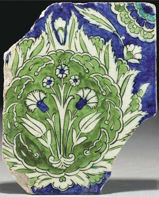 A Damascus pottery tile fragme