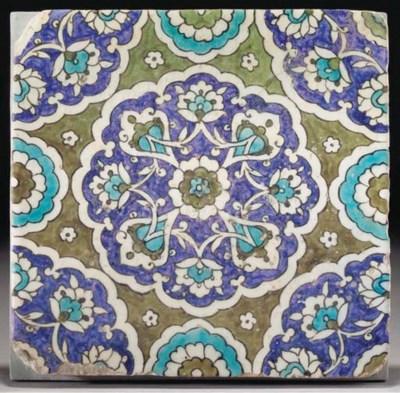 A Damascus pottery tile, Syria