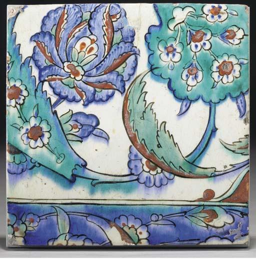 An Iznik pottery tile, Ottoman