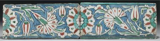 Two Iznik border tiles, Ottoma