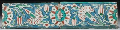 Two Iznik border tiles, Ottoma