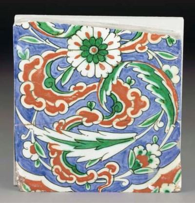 A partial Iznik pottery tile,