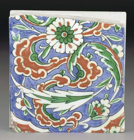 A partial Iznik pottery tile, Ottoman Turkey, late 16th century