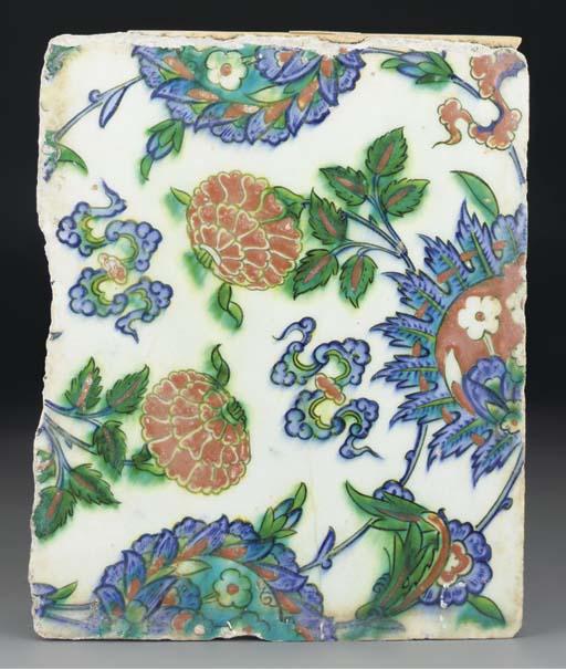 An Iznik polychrome pottery ti