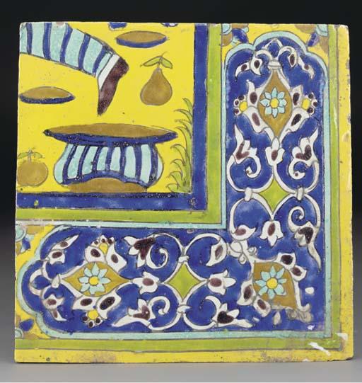 A late Safavid or Qajar Cuerda Seca pottery tile, Iran, 18th/19th century