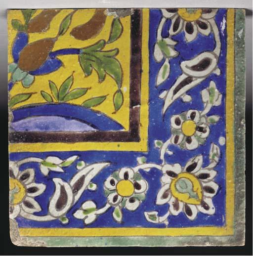 An Isfahan Cuerda Seca pottery
