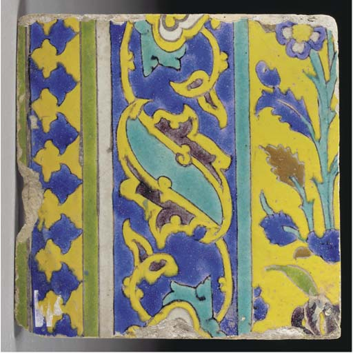 A Safavid cuerda seca pottery tile, Probably Isfahan, firstb half 17th century
