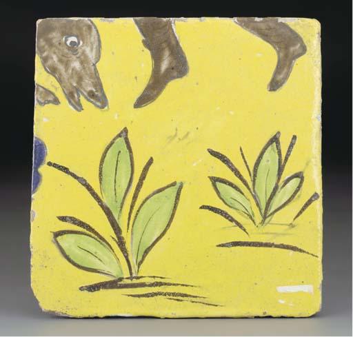 A Qajar cuerda seca pottery tile, Iran 19th century