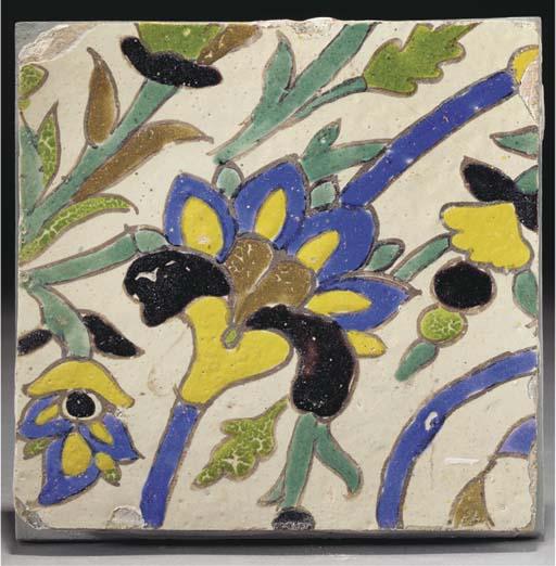 A Safavid Cuerda Seca pottery