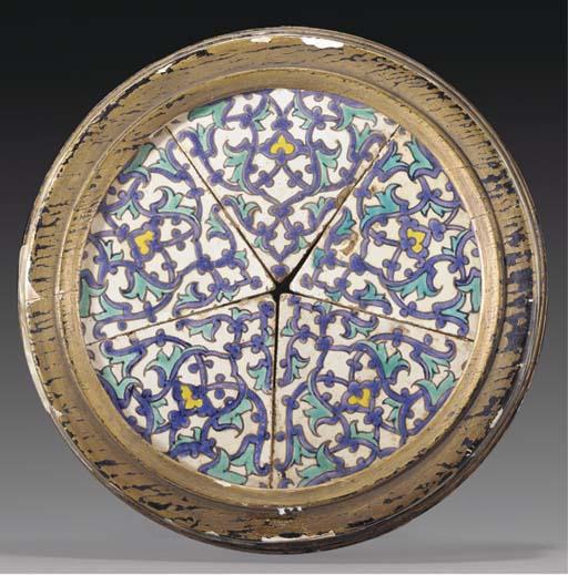 Five Cuerda Seca pottery tiles