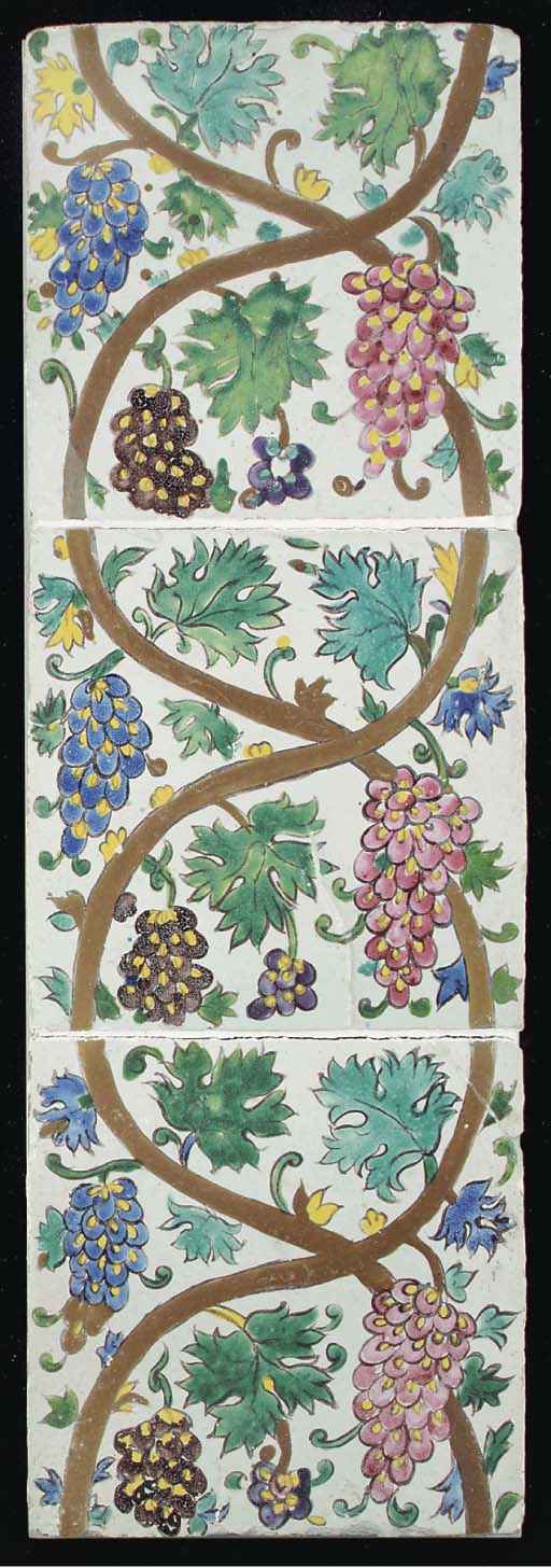 A panel of three Zand pottery tiles, Iran, second half 18th century