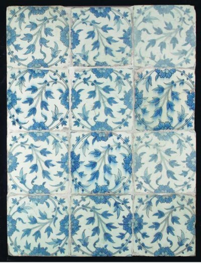 A panel of twelve Isfahan blue