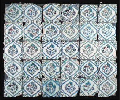 A panel of thirty Isfahan tile
