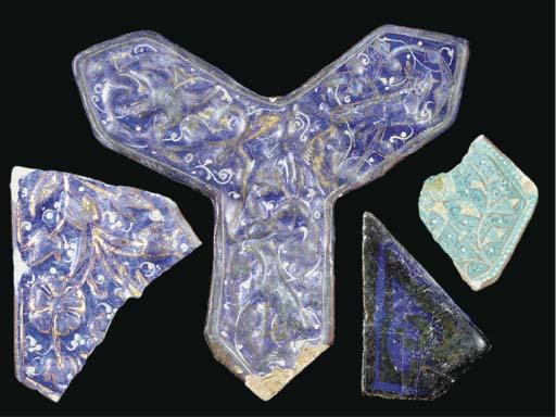 Four mediaeval pottery tile fr