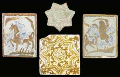 Four lustre painted tiles, Ira