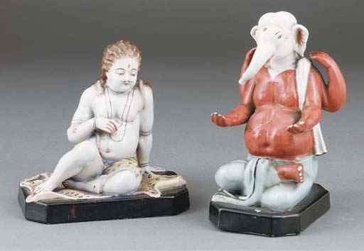 Two continental Indian market porcelain figures of Shiva and Ganesha, 20th century