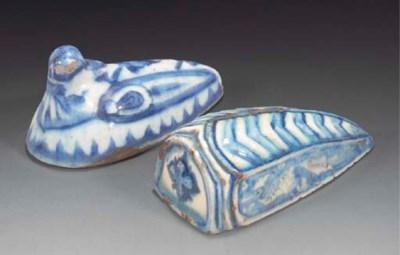 Two Persian glazed pottery bat