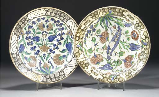 Two Iznik pottery dishes, 17th