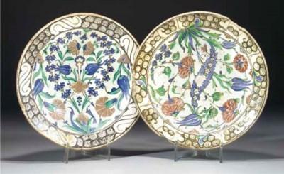 Two Iznik pottery dishes, 17th