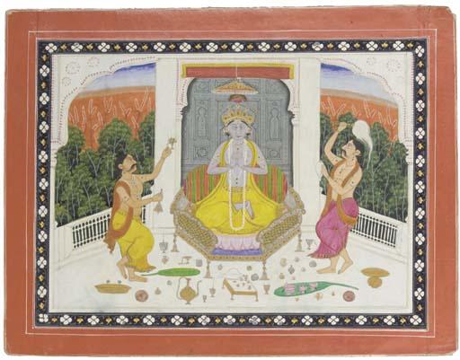KRISHNA WITH TWO DEVOTEES, KANGRA, 19TH CENTURY