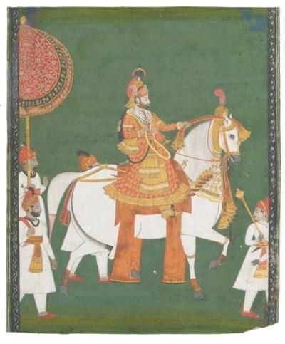 Portrait of a noble riding a w