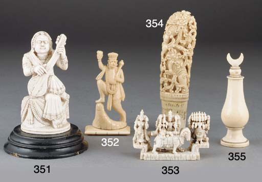 A small Indian ivory figural carving, 19th Century