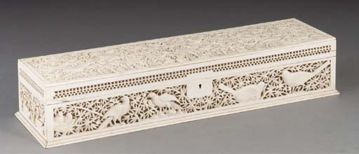 An Indian ivory document box,