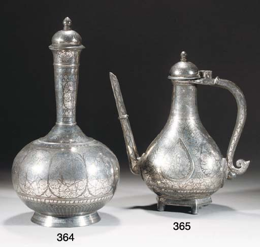 A Bidriware ewer and hinged co
