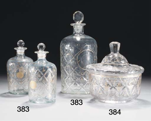 Three Beykoz glass bottles and stoppers, 19th Century