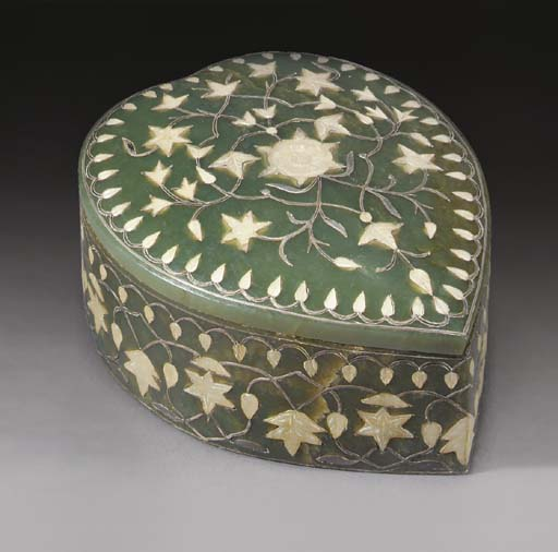A Mughal spinach jade inset he