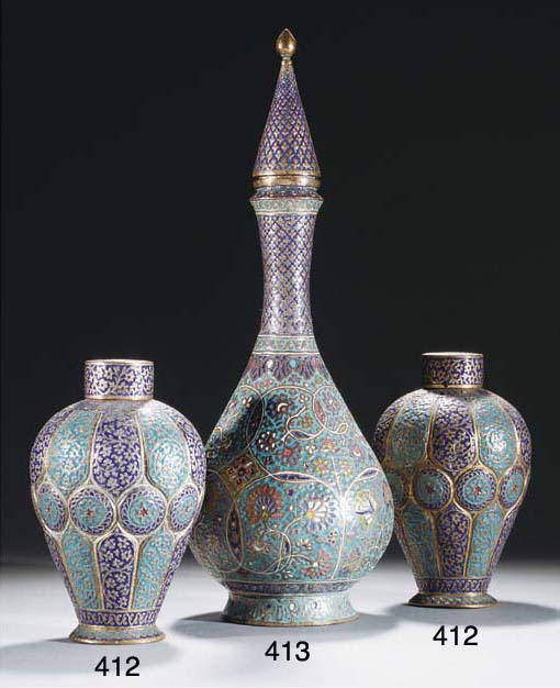 A pair of Kashmir enamelled co