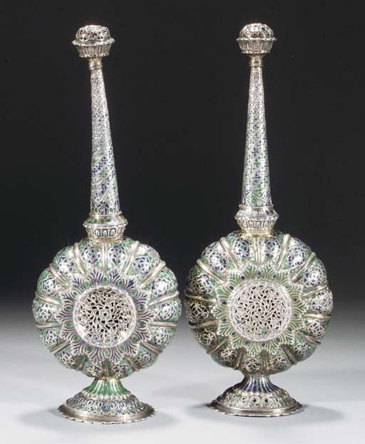 A pair of Lucknow silver enamelled sprinklers, 18th/early 19th Century