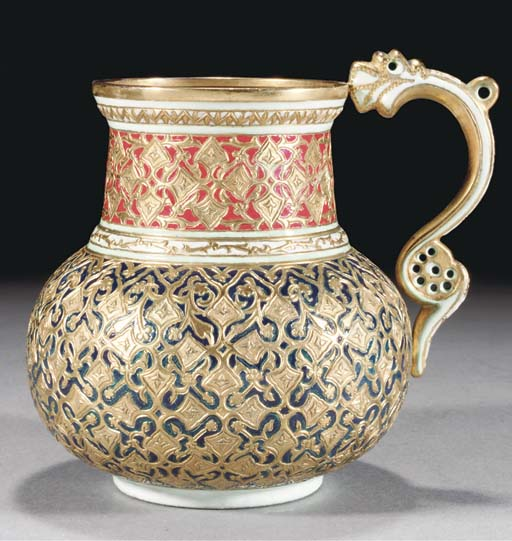 An Indian market French enamelled silver gilt jar, 19th Century
